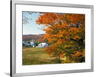 Fall Colors Framing Church and Town, East Corinth, Vermont, USA-Jaynes Gallery-Framed Photographic Print