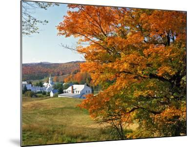 Fall Colors Framing Church and Town, East Corinth, Vermont, USA-Jaynes Gallery-Mounted Photographic Print