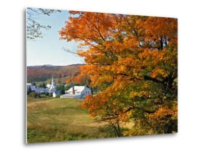 Fall Colors Framing Church and Town, East Corinth, Vermont, USA-Jaynes Gallery-Metal Print