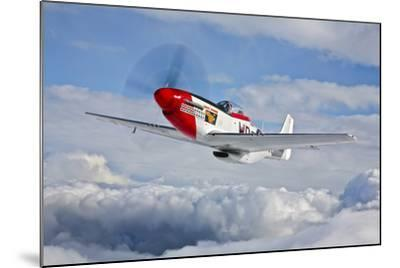 A P-51D Mustang in Flight Near Hollister, California--Mounted Photographic Print