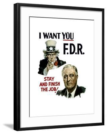World War II Poster of Uncle Sam and President Franklin Roosevelt--Framed Art Print