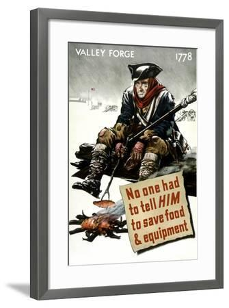 World War II Poster of a Revolutionary War Soldier Cooking over a Fire--Framed Art Print