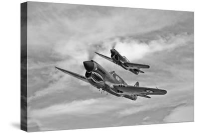 Two Curtiss P-40 Warhawks in Flight Near Nampa, Idaho--Stretched Canvas Print