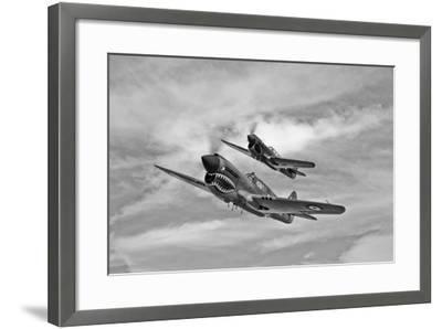 Two Curtiss P-40 Warhawks in Flight Near Nampa, Idaho--Framed Photographic Print