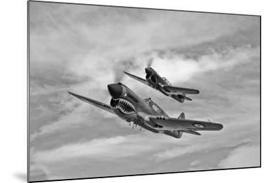 Two Curtiss P-40 Warhawks in Flight Near Nampa, Idaho--Mounted Photographic Print