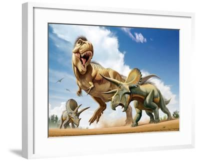 Tyrannosaurus Rex Fighting with Two Triceratops--Framed Art Print
