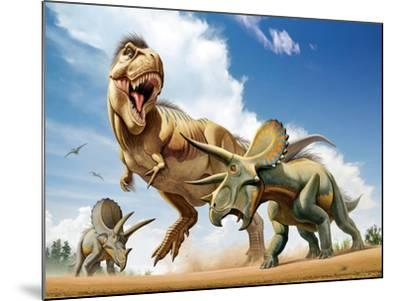 Tyrannosaurus Rex Fighting with Two Triceratops--Mounted Art Print