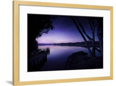 Tranquil Lake and Trees Against Starry Sky, Moscow, Russia--Framed Photographic Print