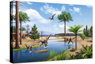 Two Herrerasaurus Dinosaurs Chasing a Silesaurus Down a Stream--Stretched Canvas Print