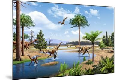 Two Herrerasaurus Dinosaurs Chasing a Silesaurus Down a Stream--Mounted Art Print