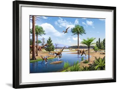 Two Herrerasaurus Dinosaurs Chasing a Silesaurus Down a Stream--Framed Art Print