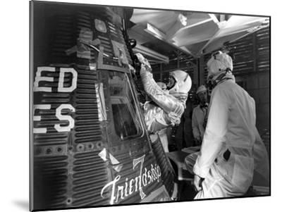 Digitally Restored Photo of Astronaut John Glenn Entering the Friendship 7 Spacecraft--Mounted Photographic Print