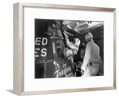 Digitally Restored Photo of Astronaut John Glenn Entering the Friendship 7 Spacecraft--Framed Photographic Print