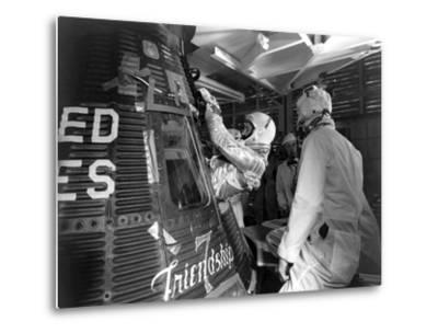 Digitally Restored Photo of Astronaut John Glenn Entering the Friendship 7 Spacecraft--Metal Print