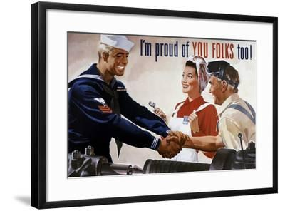 World War II Poster of a Sailor Shaking Hands with Factory Workers--Framed Art Print