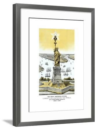 Vintage Color Architecture Print Featuring the Statue of Liberty--Framed Art Print