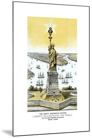 Vintage Color Architecture Print Featuring the Statue of Liberty--Mounted Art Print