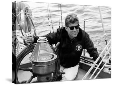Vintage Photo of President John F. Kennedy Sailing Aboard His Yacht--Stretched Canvas Print