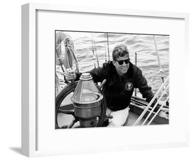 Vintage Photo of President John F. Kennedy Sailing Aboard His Yacht--Framed Photographic Print