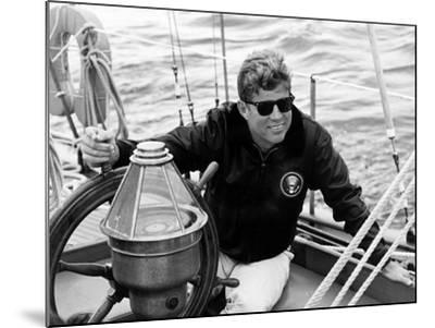 Vintage Photo of President John F. Kennedy Sailing Aboard His Yacht--Mounted Photographic Print