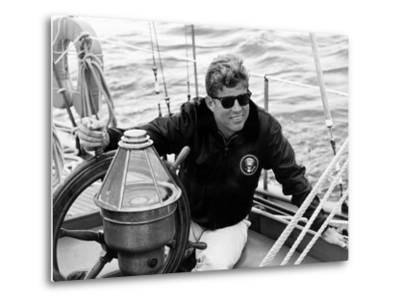 Vintage Photo of President John F. Kennedy Sailing Aboard His Yacht--Metal Print