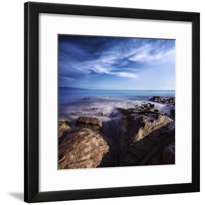 Rocky Shore and Tranquil Sea, Portoscuso, Sardinia, Italy--Framed Photographic Print