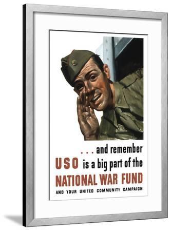 World War II Propaganda Poster of a Soldier Shouting from a Window--Framed Art Print