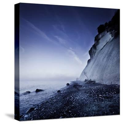 Seaside and Chalk Mountain in the Evening, Mons Klint Cliffs, Denmark--Stretched Canvas Print