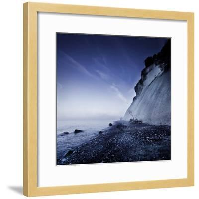 Seaside and Chalk Mountain in the Evening, Mons Klint Cliffs, Denmark--Framed Photographic Print