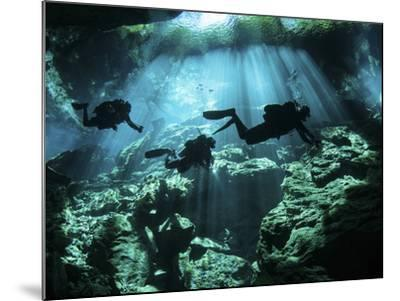 Diver Enters the Cavern System in the Riviera Maya Area of Mexico--Mounted Photographic Print