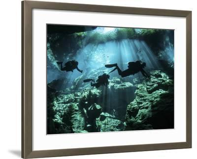 Diver Enters the Cavern System in the Riviera Maya Area of Mexico--Framed Photographic Print