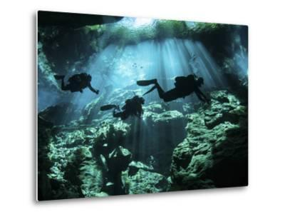Diver Enters the Cavern System in the Riviera Maya Area of Mexico--Metal Print