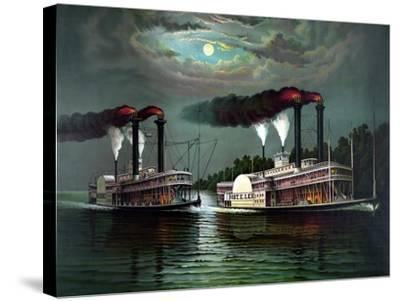 Vintage Print Featuring the Race of Steamboats Robert E. Lee and Natchez--Stretched Canvas Print