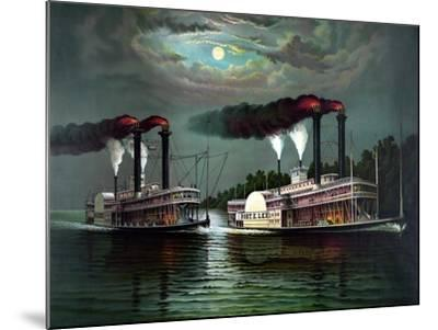 Vintage Print Featuring the Race of Steamboats Robert E. Lee and Natchez--Mounted Art Print