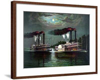 Vintage Print Featuring the Race of Steamboats Robert E. Lee and Natchez--Framed Art Print