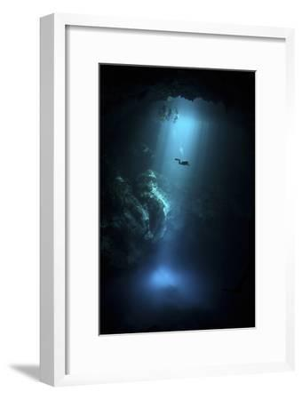 Scuba Diver Descends into the Pit Cenote in Mexico--Framed Photographic Print