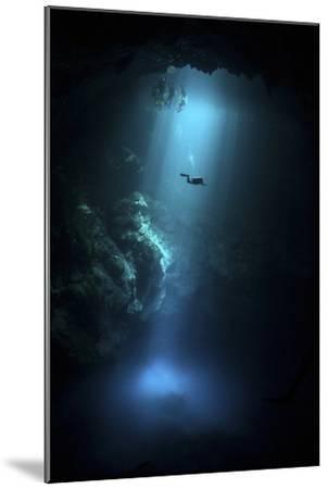 Scuba Diver Descends into the Pit Cenote in Mexico--Mounted Photographic Print