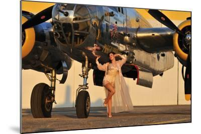 Sexy 1940's Pin-Up Girl in Lingerie Posing with a B-25 Bomber--Mounted Photographic Print