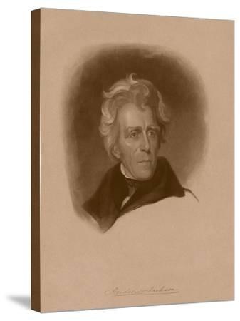 Digitally Restored American History Portrait of President Andrew Jackson--Stretched Canvas Print