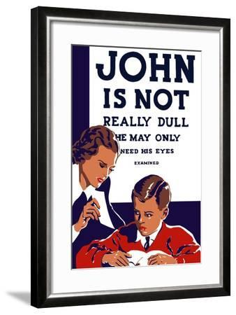 Vintage Wpa Propaganda Poster Featuring a Teacher and Young Boy Reading--Framed Art Print