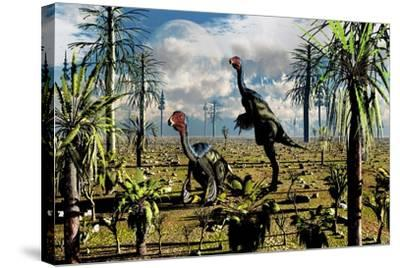 A Pair of Omnivorous Caudipteryx Feathered Dinosaurs--Stretched Canvas Print