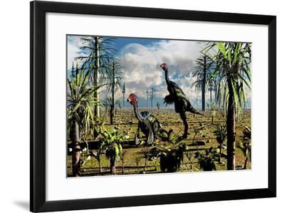 A Pair of Omnivorous Caudipteryx Feathered Dinosaurs--Framed Art Print
