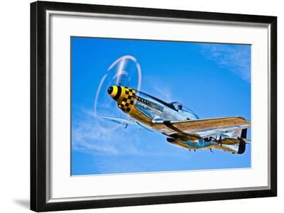 A North American P-51D Mustang in Flight Near Chino, California--Framed Photographic Print