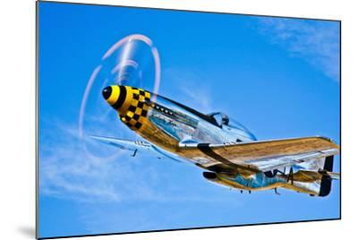 A North American P-51D Mustang in Flight Near Chino, California--Mounted Photographic Print