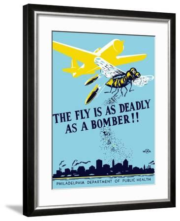 Wpa Propaganda Poster of a Bomber Plane and a Fly Dropping Germs--Framed Art Print