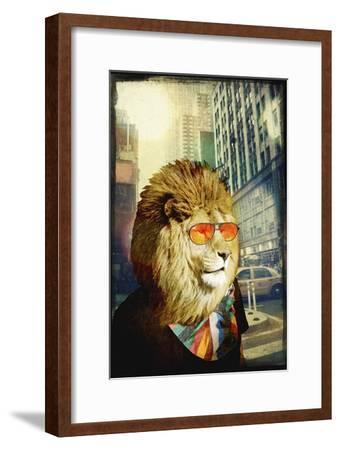 King Lion of the Urban Jungle-GI ArtLab-Framed Premium Giclee Print
