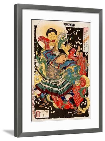 Toki Motosada, Hurling a Demon King, Thirty-Six Transformations-Yoshitoshi Tsukioka-Framed Giclee Print