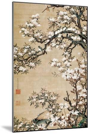 Birds on Aronia Branch-Jakuchu Ito-Mounted Giclee Print