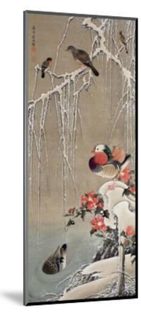 Mandarin Duck in the Snow 1-Jakuchu Ito-Mounted Giclee Print