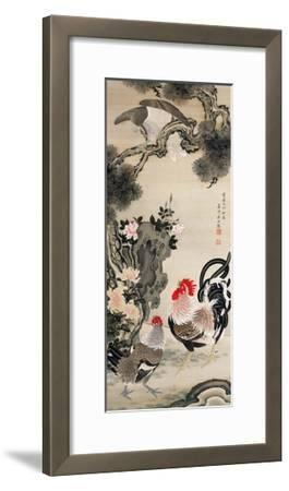 Rooster, Hen and a Falcon-Jakuchu Ito-Framed Giclee Print